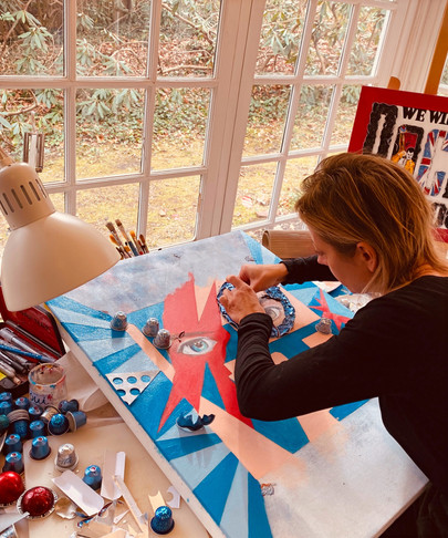 """Working session on my painting """"Bowie For Ever"""""""