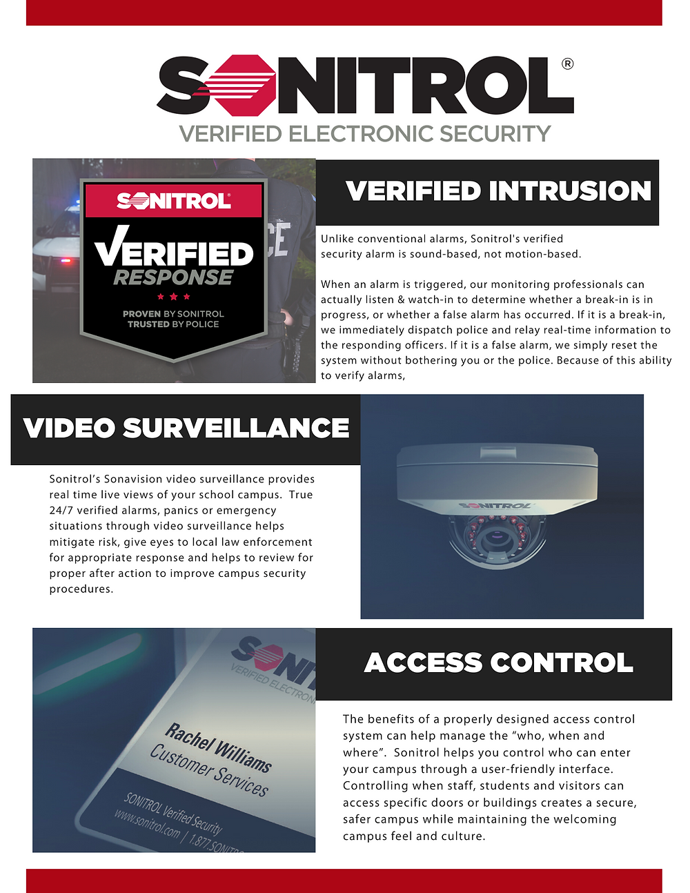 Sonitrol Verified Intrusion Alarm, Sonitrol Verified Video Surveillance, Sonitrol Access Control.