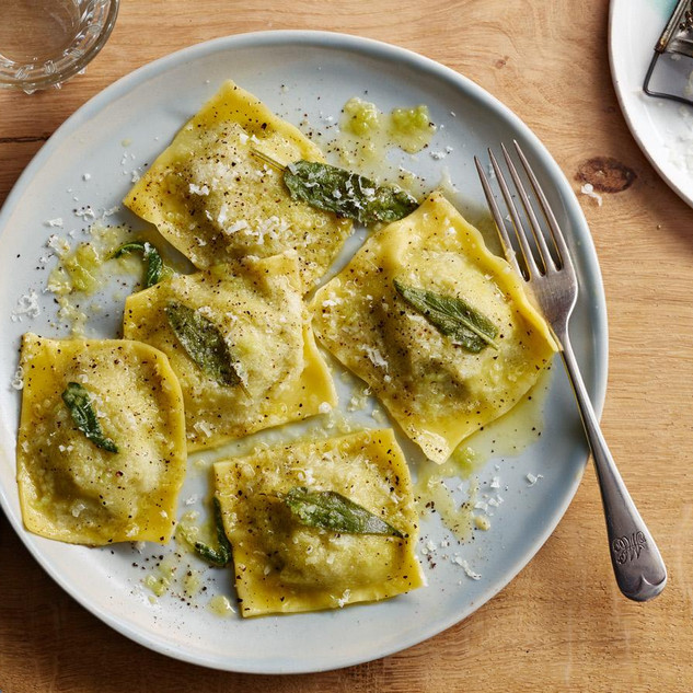 Spinach Ricotta Ravioli with Sage Butter