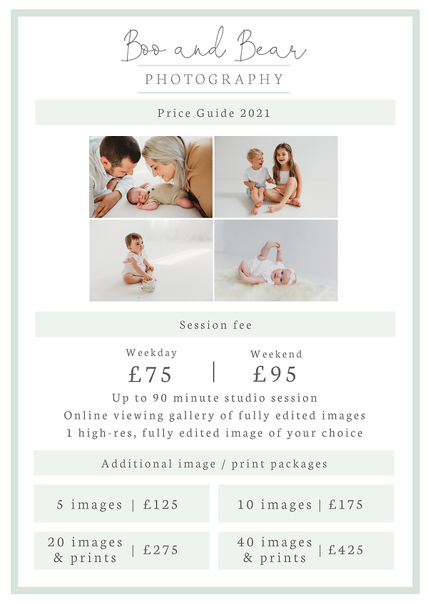 Boo and Bear Photography - Price guide 2