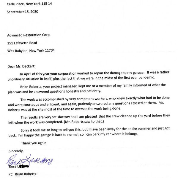 Rose Luciano Complimentary Letter Sept.