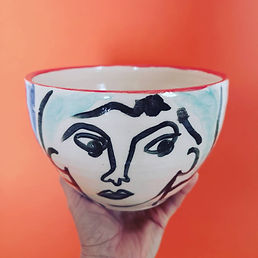 Ceramic bowl with abstract art