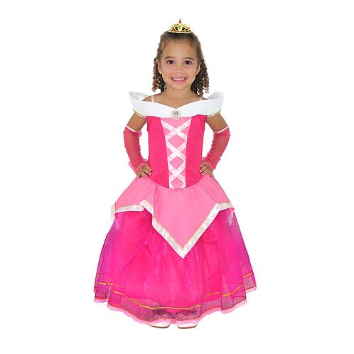 Fantasia Princesa Rosa Infantil - Deluxe