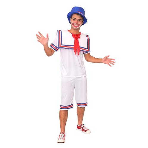 Fantasia Palhaço Branco Masculino Adulto