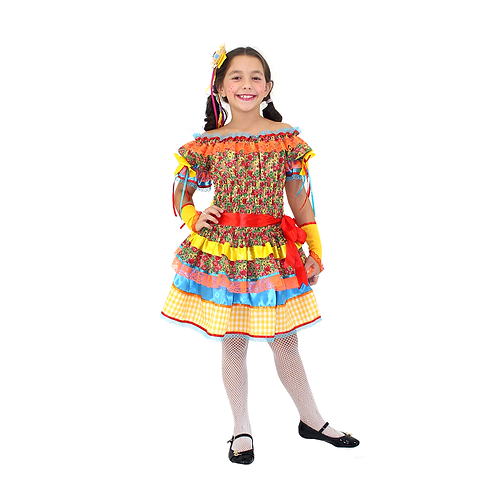 Caipira Vestido Margarida Amarela Infantil