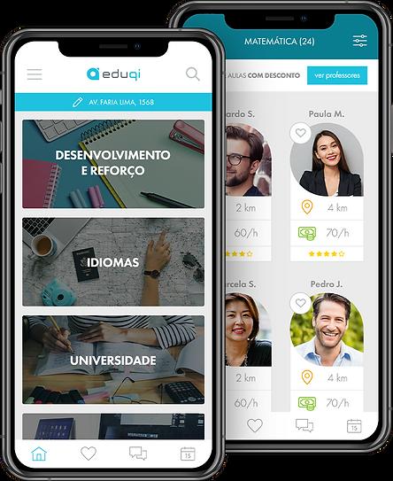 App Eduqi - Home e lista de professores