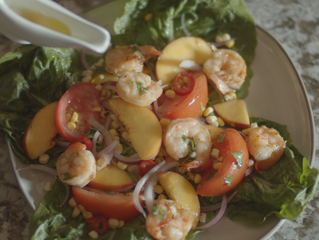 Summer Shrimp Wedge Salad With Peaches, Tomatoes & Corn