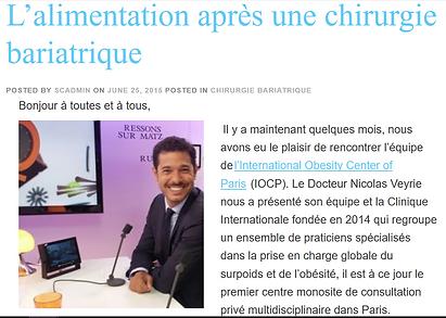 Slowcontrol L'alimentation aprs une chirurgi bariatrique Dr. Veyrie IOCP Paris