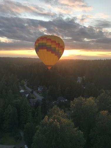 Sunset from a hot air balloon
