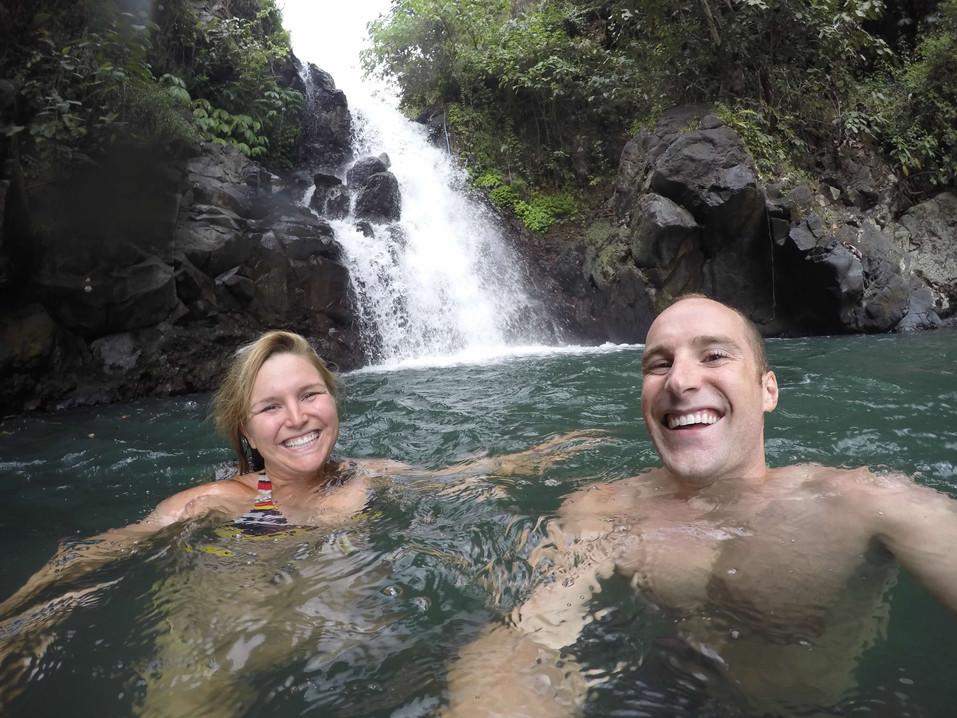 Jumping off waterfalls in Bali