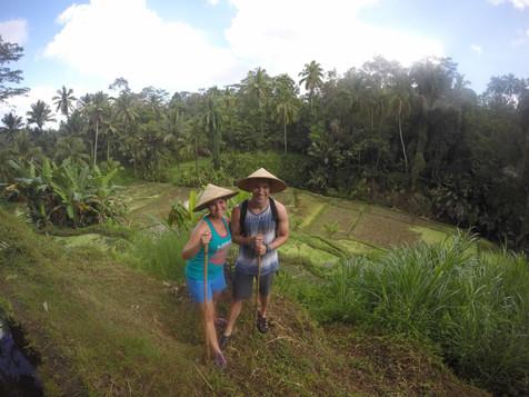 Hiking the rice patty fields of Bali