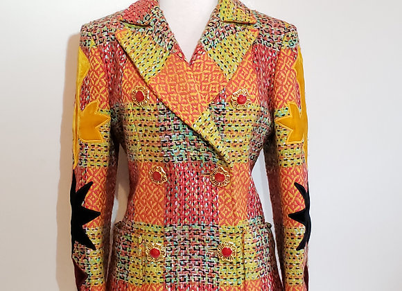 Designer yellow orange tweed 2 pc suit