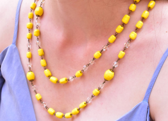 Victorian yellow glass necklace