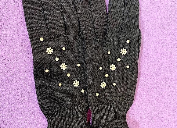 Black & Pearl Wool Gloves