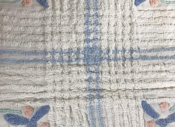 Chenille white pastel bed spread