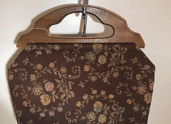 1940-50 brown floral handbag
