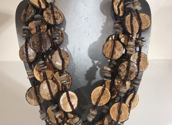 Wood shell bead necklace