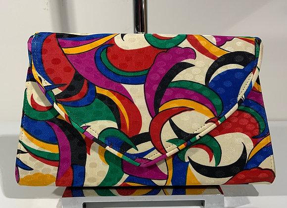 Multi color geometric silk clutch