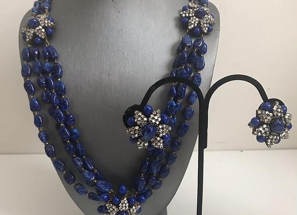 Blue glass crystal set