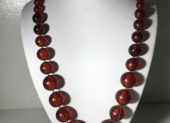 Faux Amber Graduated  Necklace