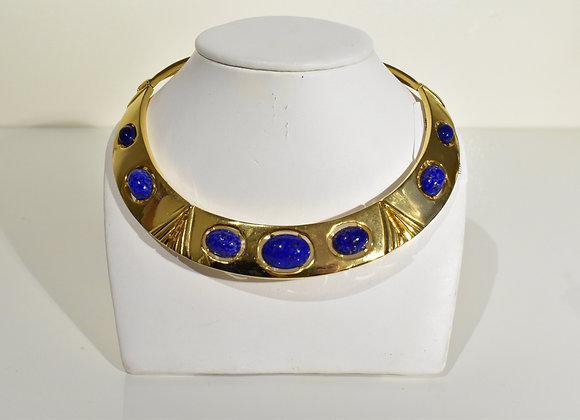 Faux Lapis Lazuli Goldtone Choker
