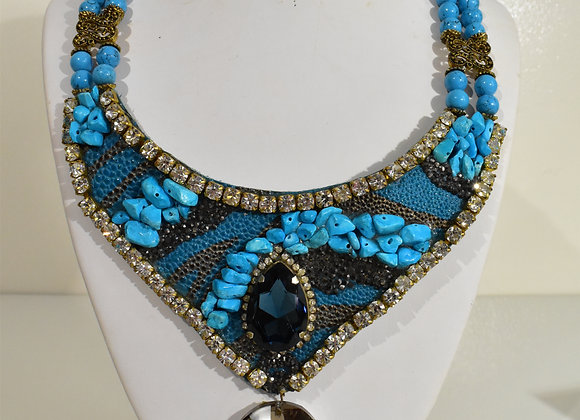 Turquoise Crystal Leather Bib Choker
