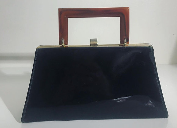 Rectangle black patent leather purse
