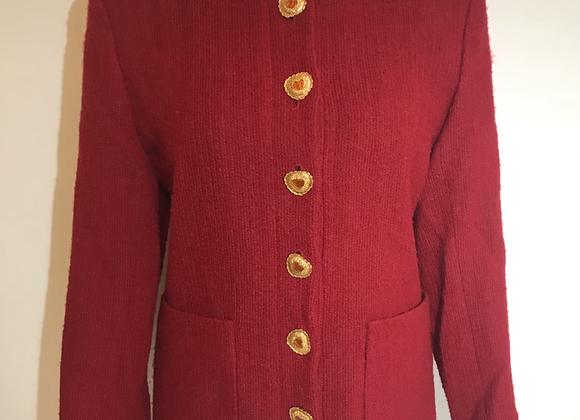 Designer red boucle jacket