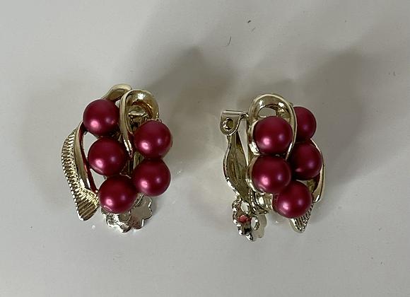 Red grape clip on earrings