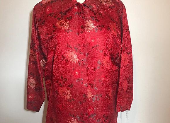 Red & Black floral brocade blouse