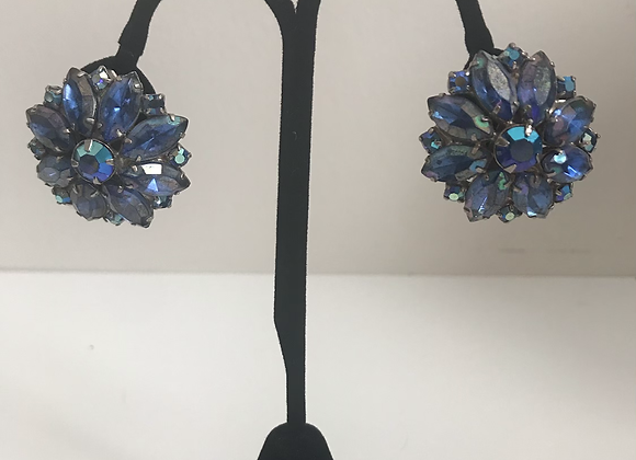 Large crystal blue clip on earrings