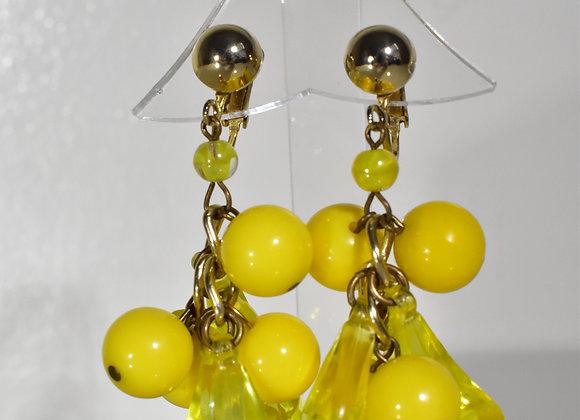 Yellow Glass dangle clip earrings