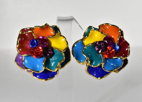 Enamel 3D multicolor clip earrings