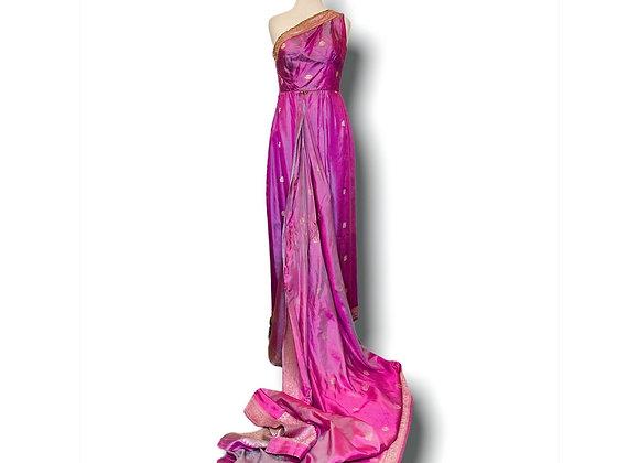 Lavender metallic  Sari Dress