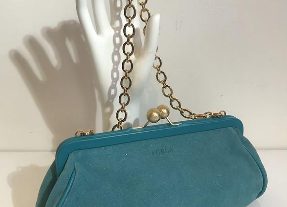 Designer turquoise suede bag