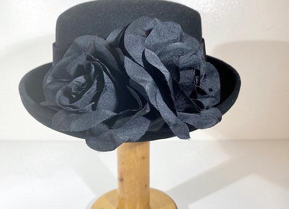 Black Flower Wool Hat