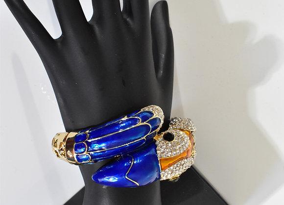 Blue & gold tone Parrot Hinge bangle