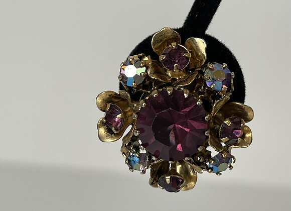 Austria purple clip on earrings