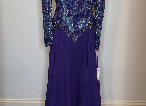 1980s purple sequin gown