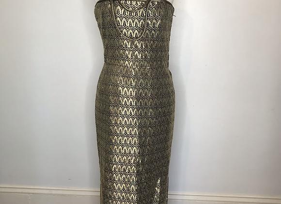 Mary McFadden gold brocade dress