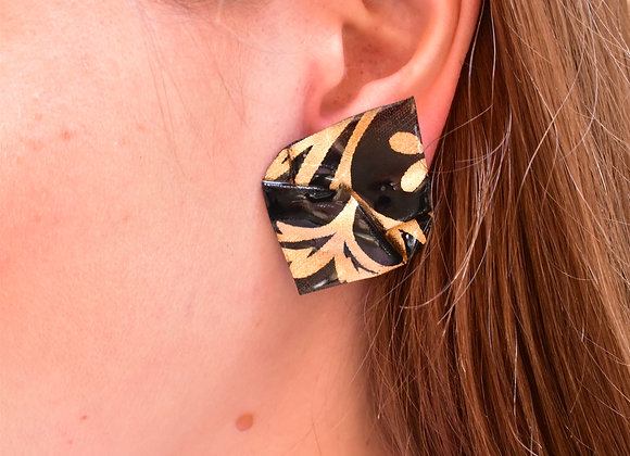 Black & gold diamond pierced earrings