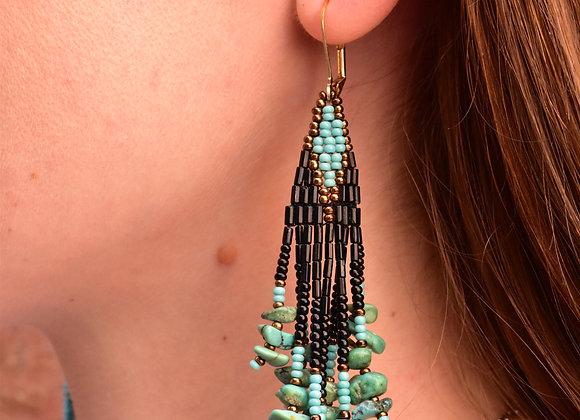 Turquoise & black bead dangle earrings