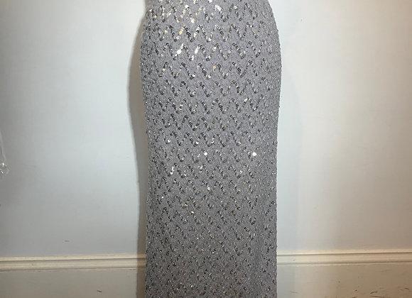 Grey Sequin Knit long Skirt