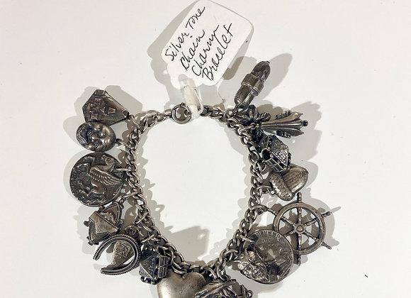 Silvertone charm link bracelet