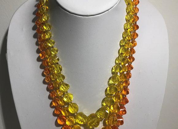 3 strand Yellow Orange Bead Necklace