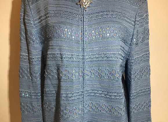 St. John Pale blue knit zipper top