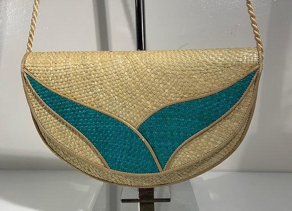 Half moon Turquoise straw bag