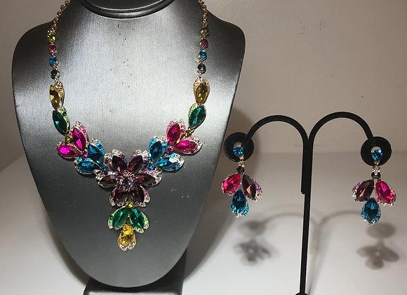 3pc Multicolor crystal necklace set