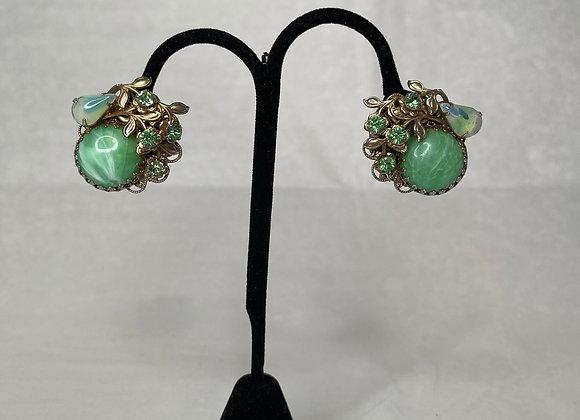 Green stone filgree clips
