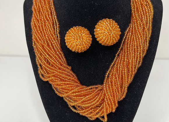 3 pc orange beaded set